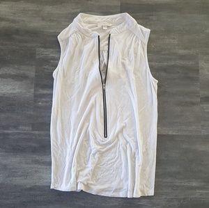 White Zipper Detailed Kenar Long Tank